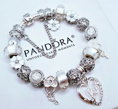 Authentic Pandora Silver Bracelet With White Valentine Love Story European Charm