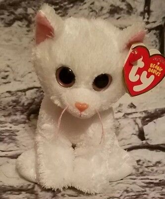 Ty Beanie Baby Babies Bianca The White Cat Big Eyed Version Sitting Tags Plush