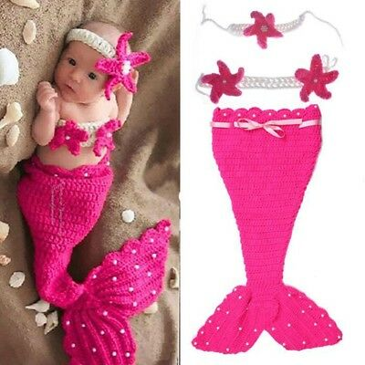Newborn Infant Baby Crochet Knit Photo Costume Prop Outfit Mermaid Headband Set