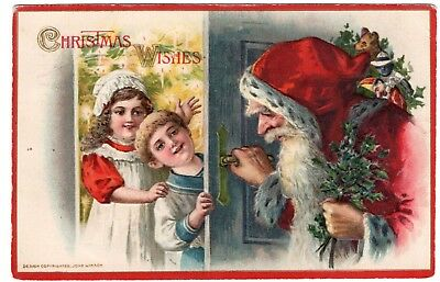 Antique Embossed John Winsch Red Suit SANTA Postcard Children and Toys 1920