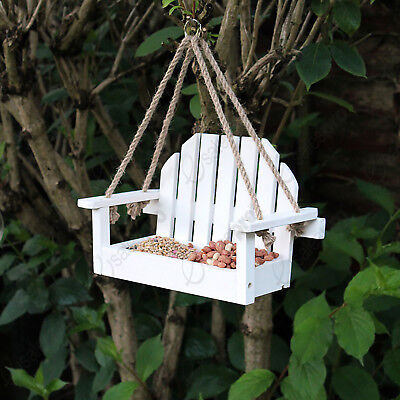 White bench shaped bird nut seed or suet feeder eco friendly FSC wood