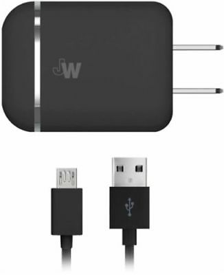 Just Wireless 13103 Dual USB AC Charger with Micro USB Cable 5ft - Black NEW