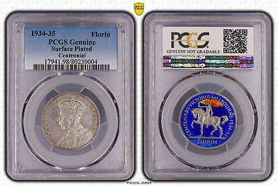 1934-35 Australia Florin 2/- Centennial PCGS GRADED - Surface Plated - 004