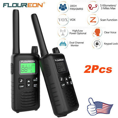 2X 22 Channel Walkie Talkies FRS / GMRS 462-467MHZ Two Way Radio 5KM Interphone