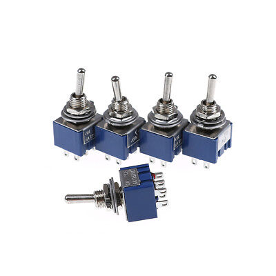 5PCS 6P Toggle Switch 6A 125VAC 6 Pin DPDT ON-ON Mini Toggle Switch R Eh