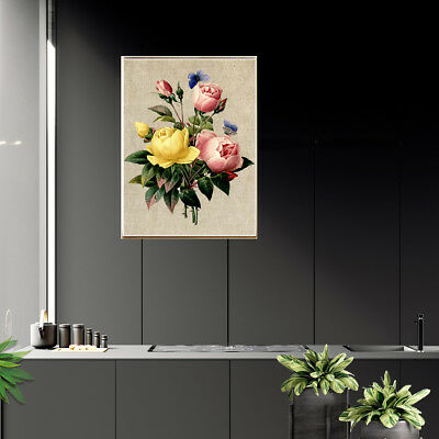 Retro Rose Flower Canvas Poster Prints Picture Living Room Wall Home Decor Gift
