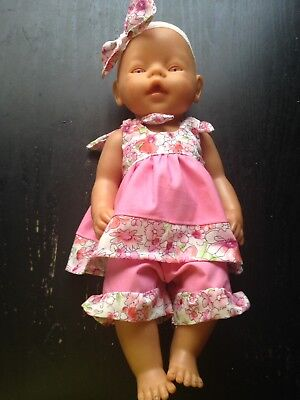 Homemade Baby Born Pink With Flowers Top and Bottom Set