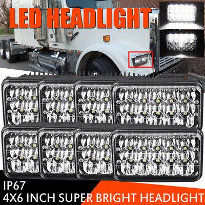 8pcs 4x6 LED Headlights for Kenworth T400 T600 T800 W900L W900B Classic 120/132