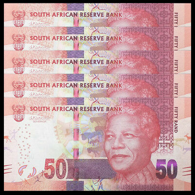 Lot 5 PCS, South Africa 50 Rand, ND(2015), P-140 NEW, banknotes , UNC