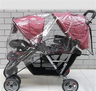 TWIN BABY Stroller Cart Universal Pushchair DOUBLE Rain Cover Dust Wind Shiel Eh