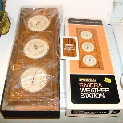 Vintage Springfield Riviera Weather Station NOS Never Hung Temp Barometer Humid