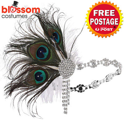 K731 Silver Peacock Gatsby Headpiece Flapper 1920s Costume Headband Headdress