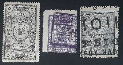 RARE 1891-1925 Turkey lot of 3 Revenue stamps Used