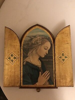 Old Wood Florentine Music Box Madonna Virgin Mary Triptych Ave Maria Reuge Swiss