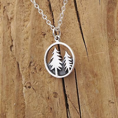 3074117ee005b STERLING SILVER MOUNTAIN Pine Tree Charm Forest Necklace Camping Halloween  Boxed