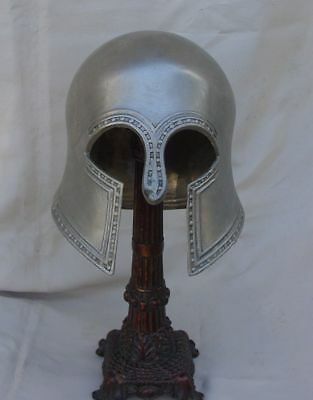 Early style Greek Corinthian helmet silvered one of a kind Reproduction