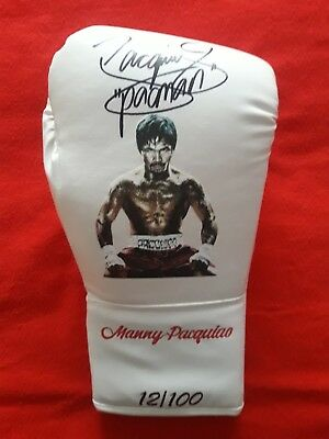 Limited Edition custom made boxing gloves (100), hand signed by Manny Pacquiao.
