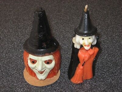 """2 Vintage GURLEY Halloween CANDLES Large 5 1/2"""" Black Witch & Witches Head Unlit"""