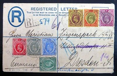 NIGERIA 1912 Registered to Germany with Ed.VII (7 Stamps) BZ29