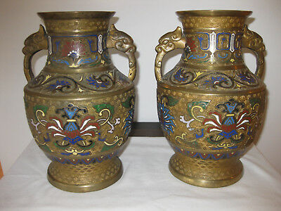 Pair Of Antique Floral Champleve  Japanese  Bronze Vases