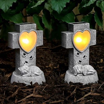Solar Power Sleeping Pet Grave Memorial LED Light | Outdoor Cat Dog Remembrance