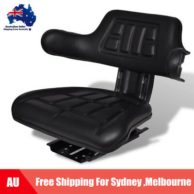 Universal Leather Tractor Seat w/ Arm Rest &Backrest Tracks and Suspension E9T0