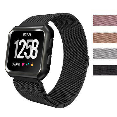 For Fitbit Versa Mesh Milanese Magnetic Loop Watch Band Strap + Protective Case