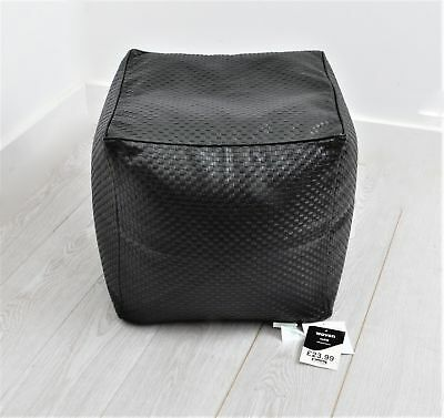 Woven Bean Cube Extra Strong Faux Leather Bean Cube/Bag-Black