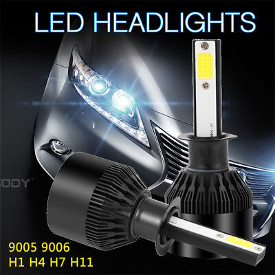 2x H1 72W 9000LM Phare De Voiture COB LED Feux Headlight Kit Ampoule 6000K Blanc