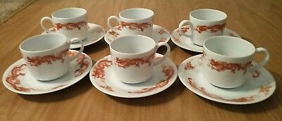 Cup & Saucer Set Of 6 Dragon Red On White Fukagawa Tiffany & Co Fine China*Used*