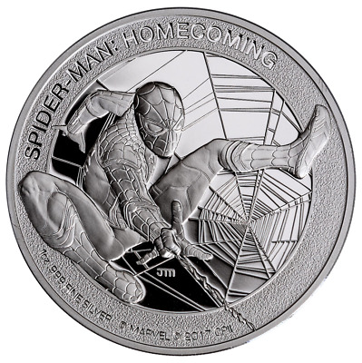 2017 Cook Islands Marvel Spider Man: Homecoming 1 oz Silver PROOF