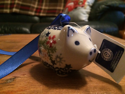 POLISH POTTERY PIG Christmas Ornament- Decor,Snowflake Design-Boleslawiec