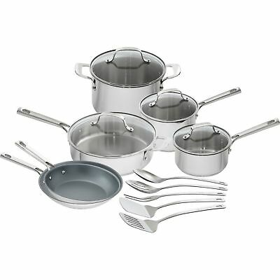 Emeril Lagasse 15 Piece Stainless Steel Cookware Set Glass Lids Nonstick Pans