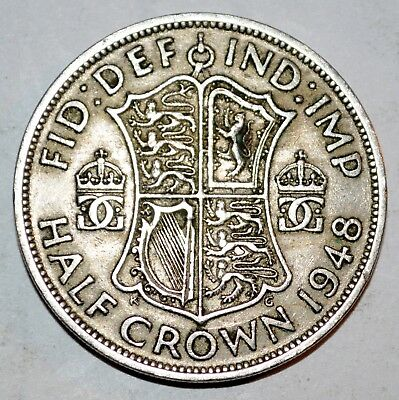 1948 GREAT BRITAIN large HALF CROWN coin FINE COLLECTIBLE
