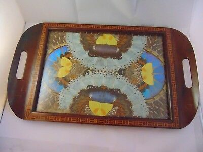 Vintage Art Deco Brazilian Butterfly Wing Tray Inlaid Hardwood  By R Benedict