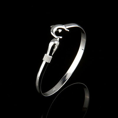 Wholesale European Fashion Jewelry Solid Silver Dolphin Clasp Bangle Bracelet IF