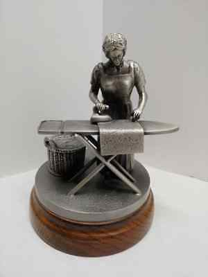 "RARE Vintage Solid Pewter ""Oud Hollands Handwerk"" Lady Ironing Sad Iron Figurine"