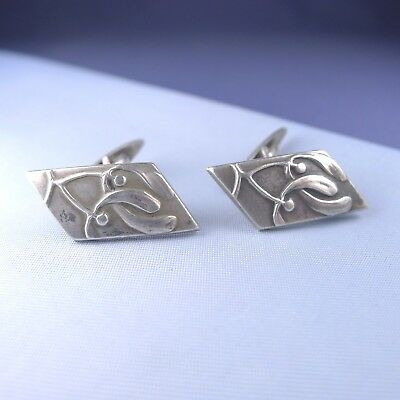 Art Nouveau Silver Mistletoe Pair Of Cufflinks / Antique