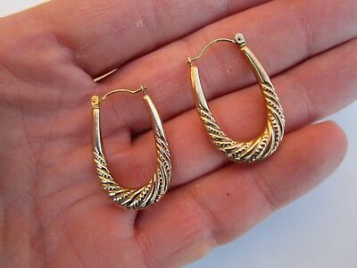 LOVELY PAIR OF VINTAGE HALLMARKED 9ct  375 GOLD CREOLE HOOP EARRINGS I.7 GRAMS