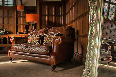 Victorian Style Chestnut Antique Tan Brown Leather 2 Seat Chesterfield Club Sofa