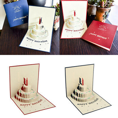 MYAFASHION 3D Pop Up Fathers Day Birthday Greeting Gift Card Cake
