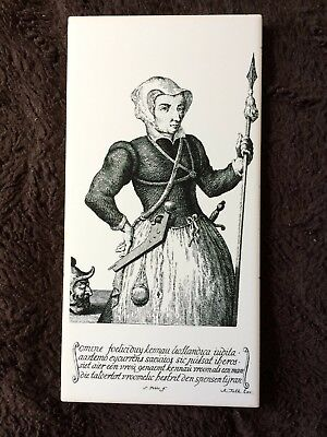 Vintage - MOSA - HOLLAND B&W - Tile of Scary Woman with Spear/Man's severed head