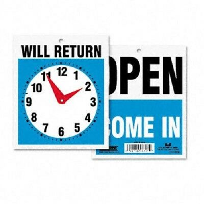 Open / Come In or Close / Will Return Plastic Flip Sign with Clock 7-1/2 x 9