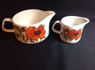 Pair Of J&G Meakin Studio Different Sized Poppy Jugs