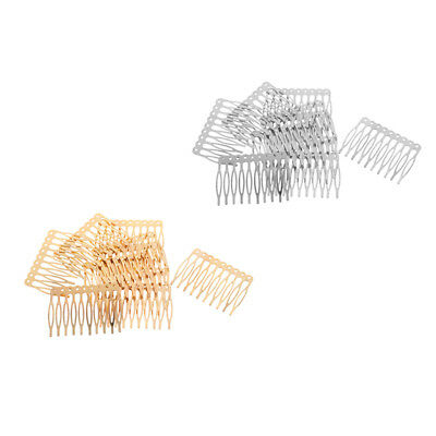20 Pieces Blank Metal Hair Comb for Bridal Hair Accessories DIY Gold Silver