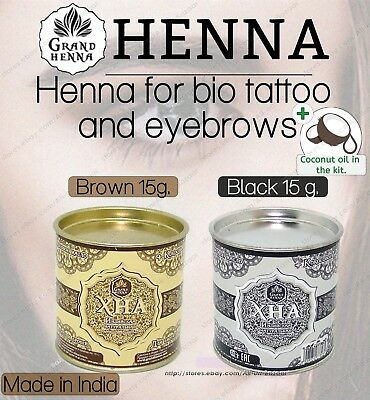 New Grand Henna for eyebrows and body bio tatoo brown - black 15g + coconut oi