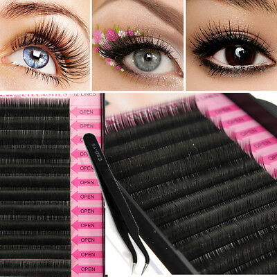 8/10/12mm Naturel Faux Cils Extension Individuel Volumineux Maquillage Pince Set