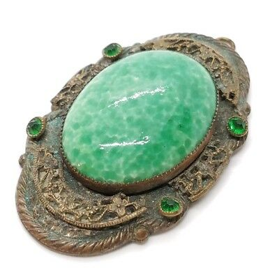 Ravishing Vtg Brass Spotted Green Enameled Ceramic Cab Art Deco Nouveau Pendant