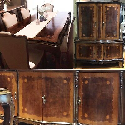 FRENCH LOUIS STYLE DINING ROOM FURNITURE Table Chairs Buffet Cabinet Antique Set