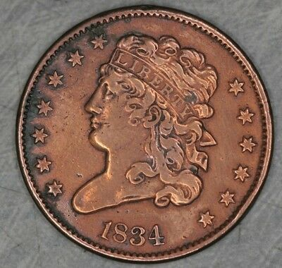 1834 Classic Head Half Cent VF Very Fine (Cleaned?) 1/2c HC